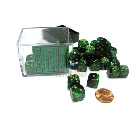 Chessex Gemini 12mm D6 Dice Block (36 Dice) - Black-Green with Gold Pips #26839