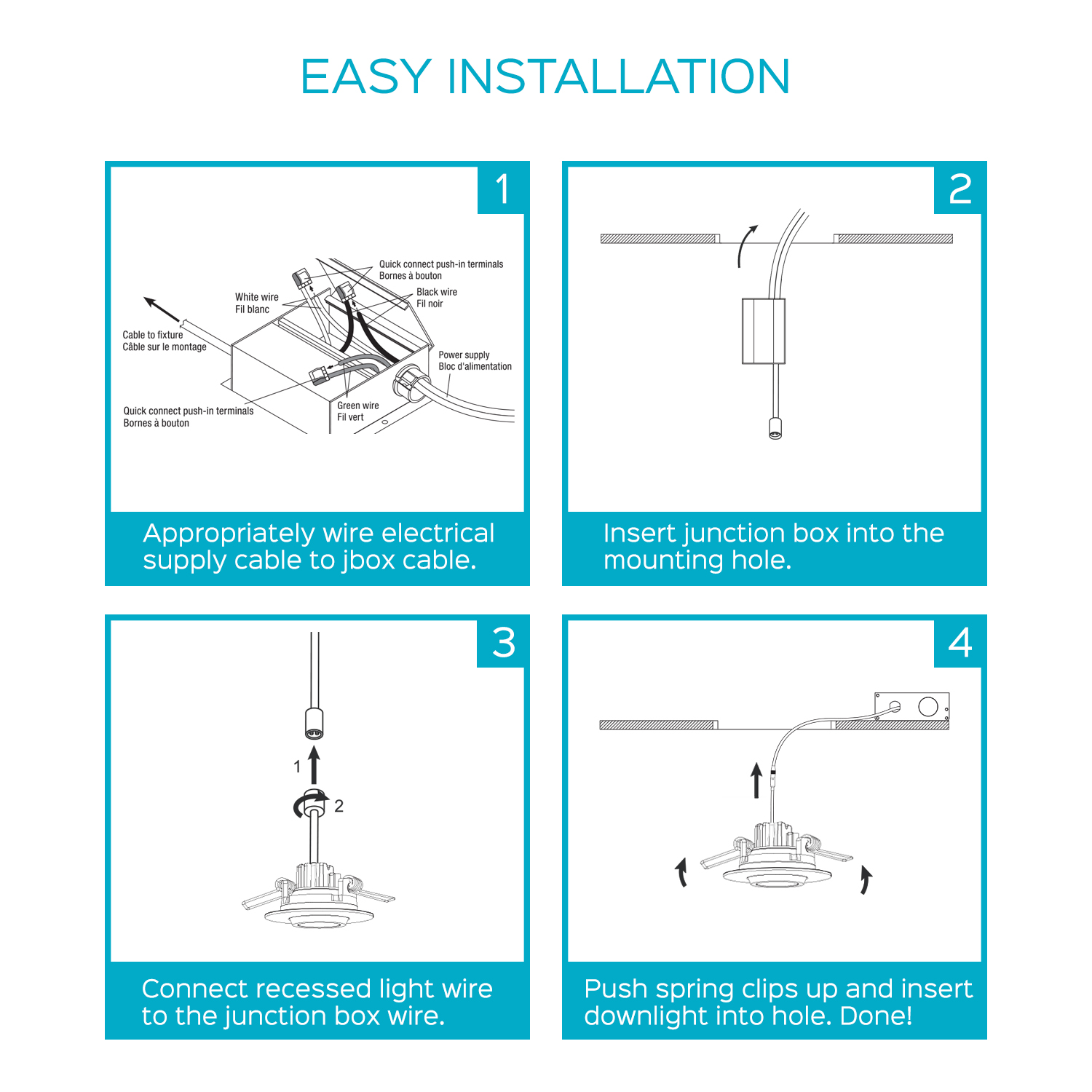 Luxrite 3 Inch Gimbal LED Square Recessed Light with Junction Box ...