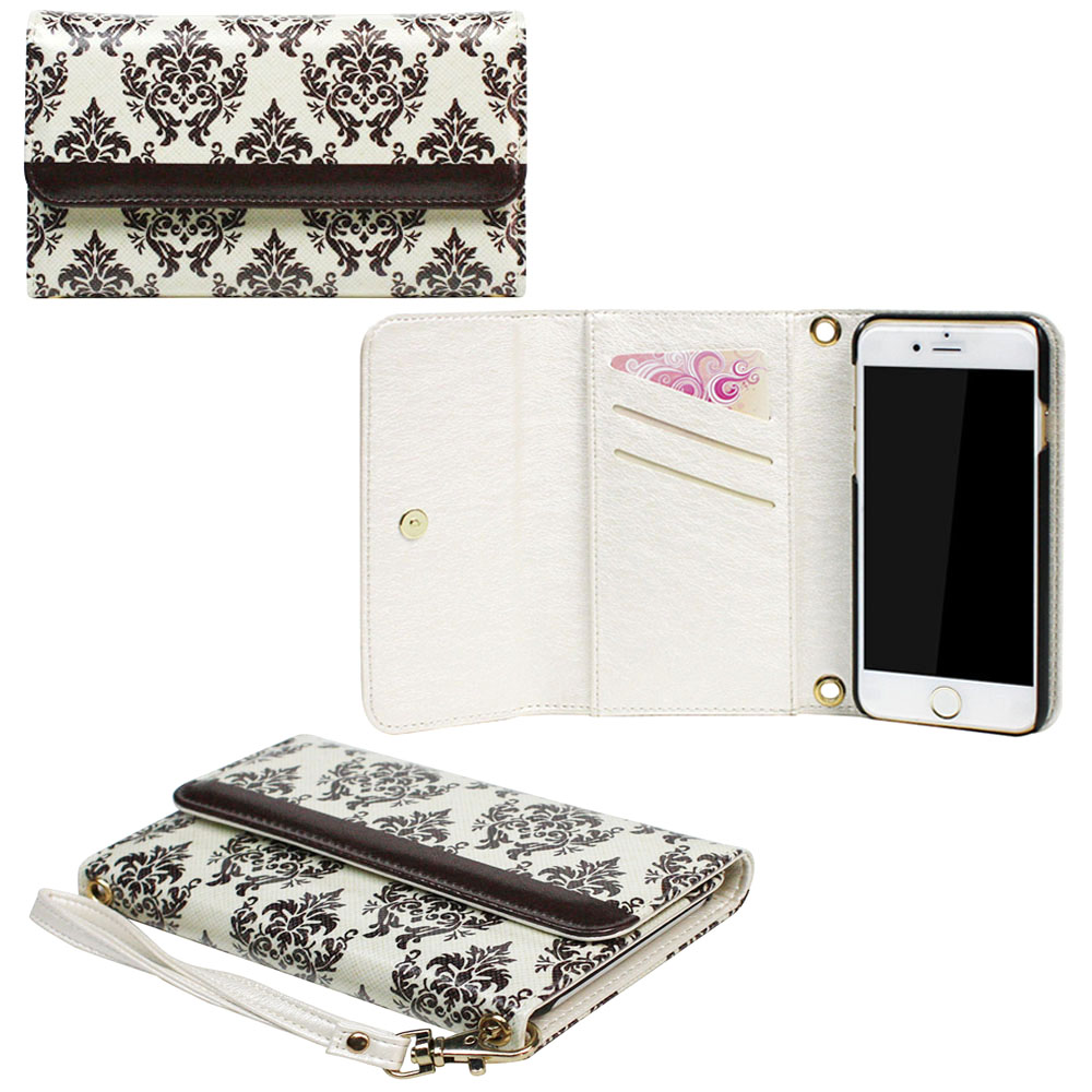 "JAVOedge Brown Baroque Clutch Style Wallet Case / Card Holder with Removable Wristlet for Apple iPhone 6 Plus (5.5"")"