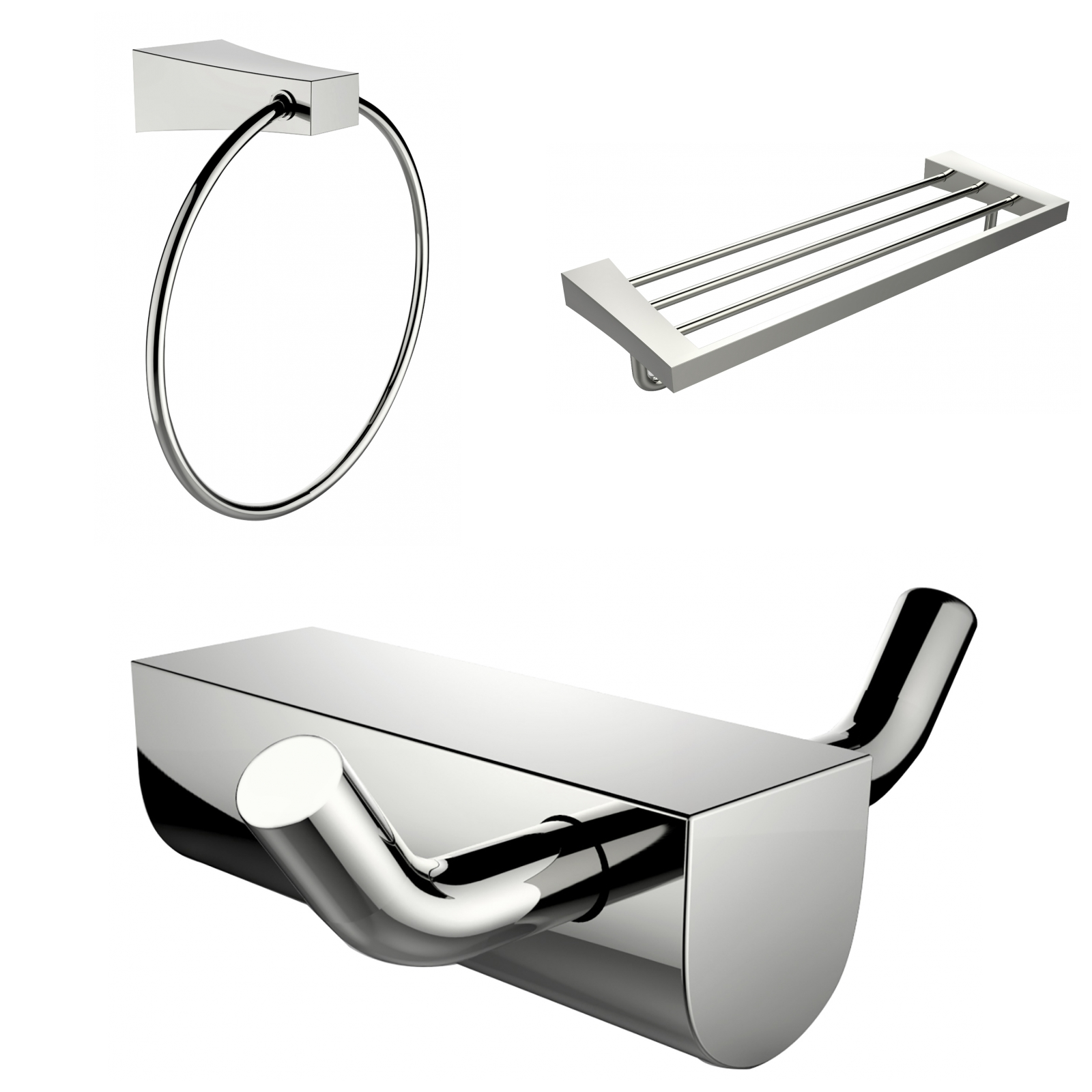 Chrome Plated Multi-Rod Towel Rack With Towel Ring And Robe Hook ...