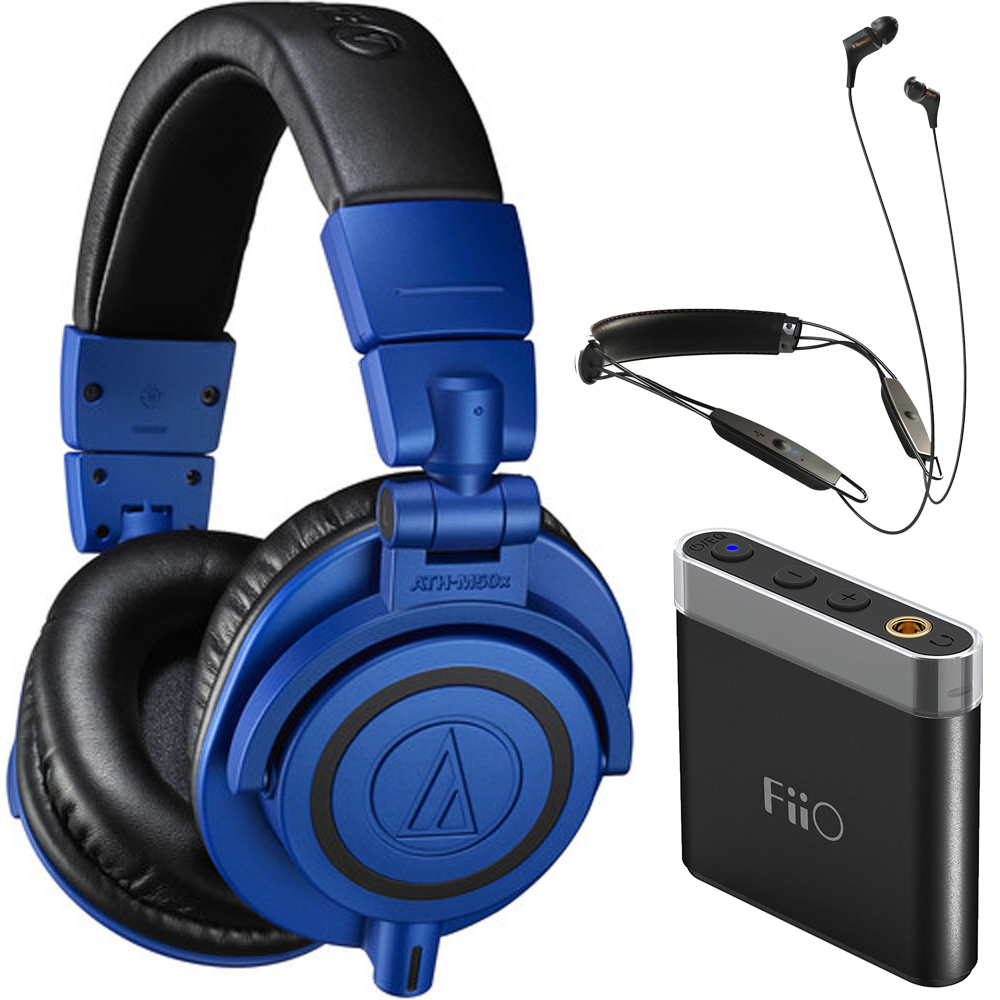 Audio-Technica Professional Monitor Over-Ear Headphones ATH-M50xBB Blue/Black with Klipsch R6 Neckband Earbuds Bluetooth Headphone + A1 Portable Headphone Amplifier