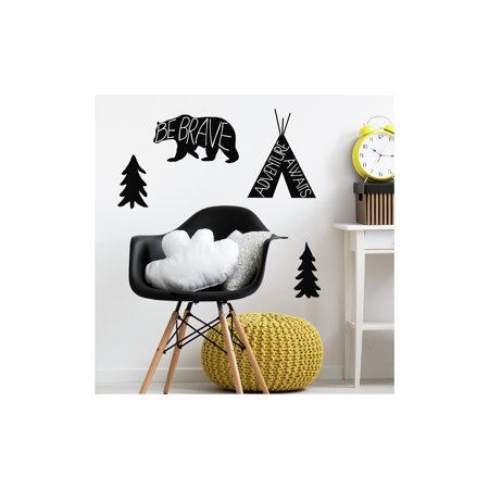 Adventure Awaits Animal Black Peel and Stick Giant Wall Decals ()