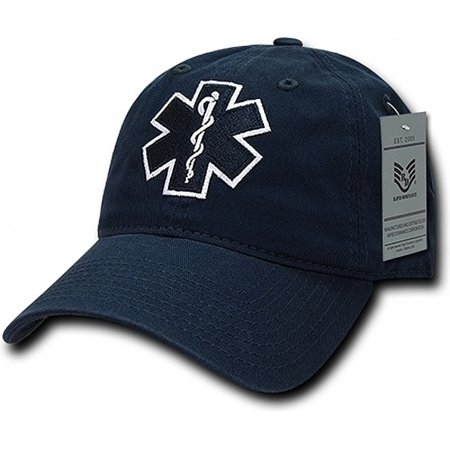 RapDom EMT Cross Relaxed Cotton Mens Cap [Navy Blue - Adjustable] - Dark Bald Cap