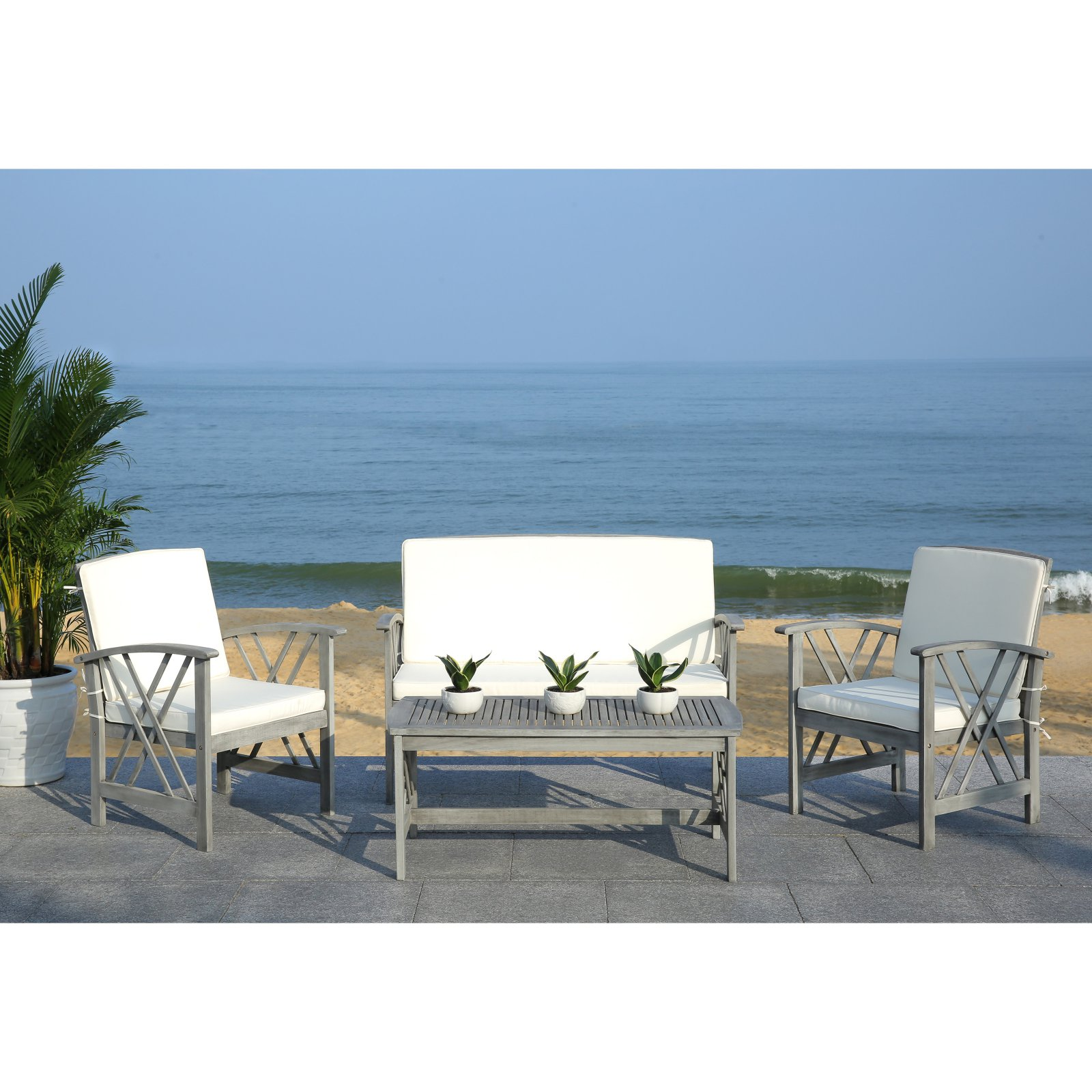 Safavieh Fontana Outdoor Modern 4 Piece Living Set with ... on Safavieh Fontana Patio Set id=40773
