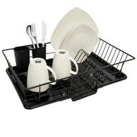 Sweet Home Collection 3-Piece Kitchen Sink Dish Drainer Set- Black