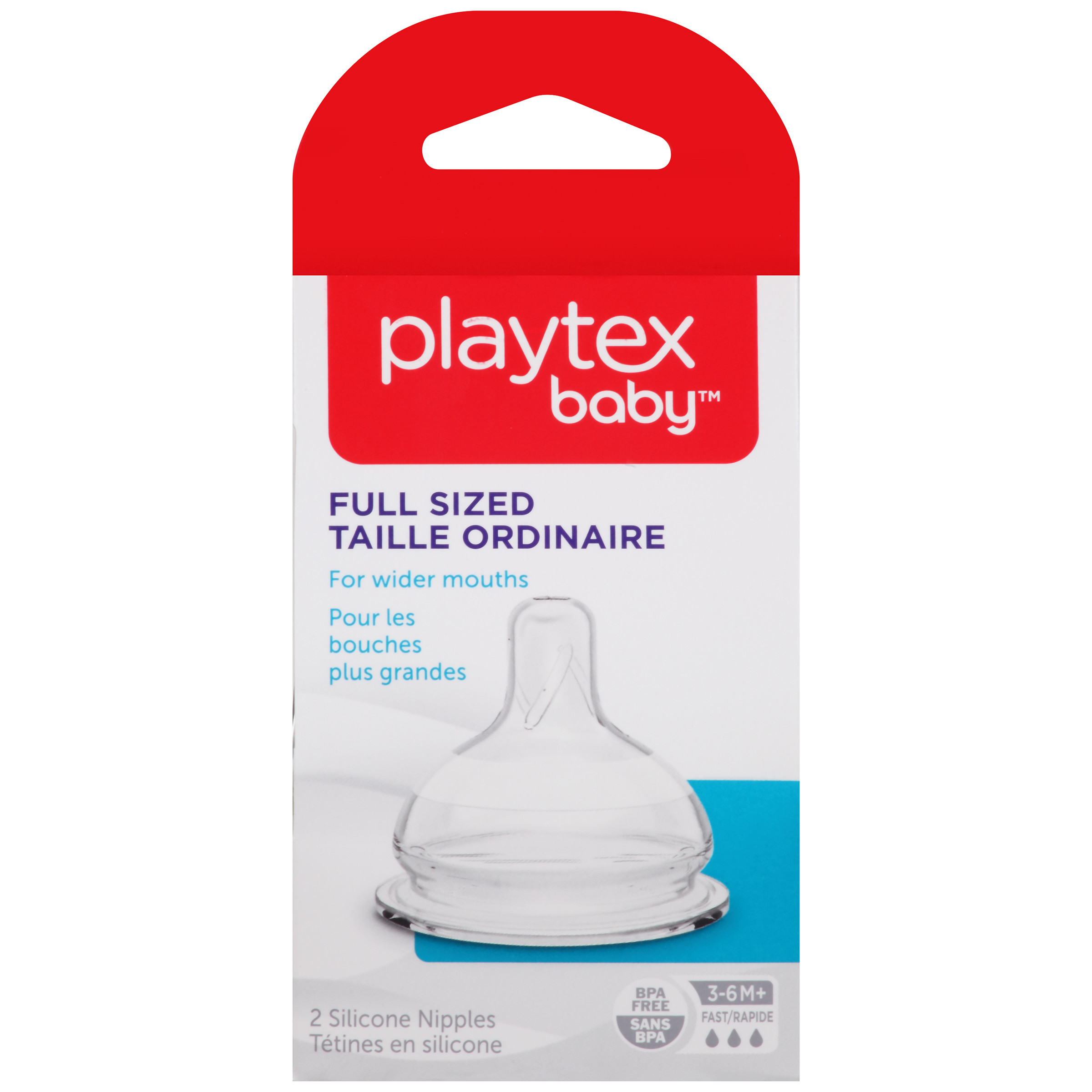Playtex Baby Full Size Fast Flow Baby Bottle Nipples 2-Pack For VentAire Or Nurser Baby Bottles