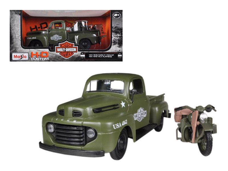 1948 Ford F-1 Pickup Truck Harley Davidson Flat Green With 1942 Harley Davidson WLA... by Maisto