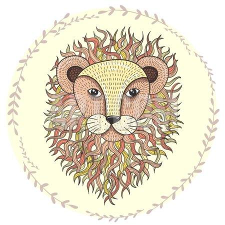 Cute Little Lion Illustration for Children. Print Wall Art By cherry blossom (Cherry Blossom Illustration)