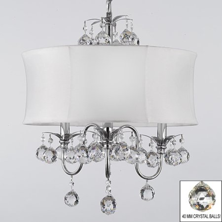 Modern Contemporary White Drum Shade & Crystal Ceiling Chandelier Pendant Lighting