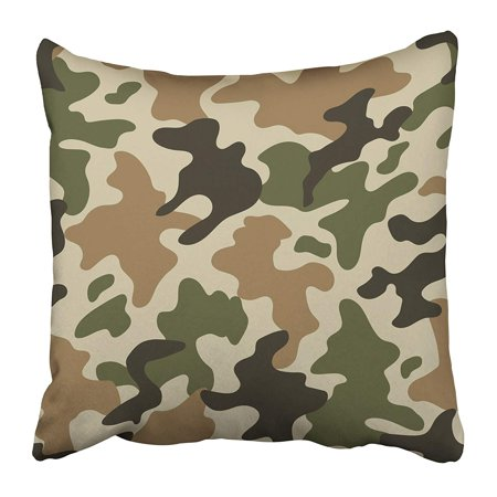 ARHOME Brown Camouflage Modern Trendy Camo Pattern Green Military Baffle Bdu Camel Pillow Case Cushion Cover 18x18 inch