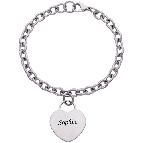 """Personalized Engraved Name Stainless Steel Heart Charm Bracelet, 7.5"""""""
