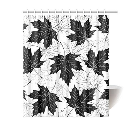 GCKG Black and White Shower Curtain, Autumn Leaves Polyester Fabric Shower Curtain Bathroom Sets 60x72 Inches - image 3 of 3