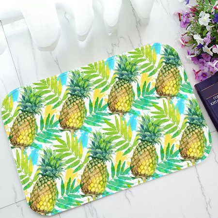 PHFZK Tropical Beach Doormat, Watercolor Painted Green Pineapples and Leaves Doormat Outdoors/Indoor Doormat Home Floor Mats Rugs Size 23.6x15.7 inches