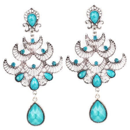 Vintage Style Blue Faceted Bead Detail Pendant Hook Earring Ear Drop Pair