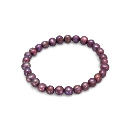 Maroon Pearl (Maroon Red Dyed Dark Red Freshwater Cultured Freshwater Pearl Stretch Bracelet )