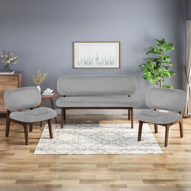 Jaxx 3 Piece Club Chair and Loveseat Set, Gray and Walnut Finish