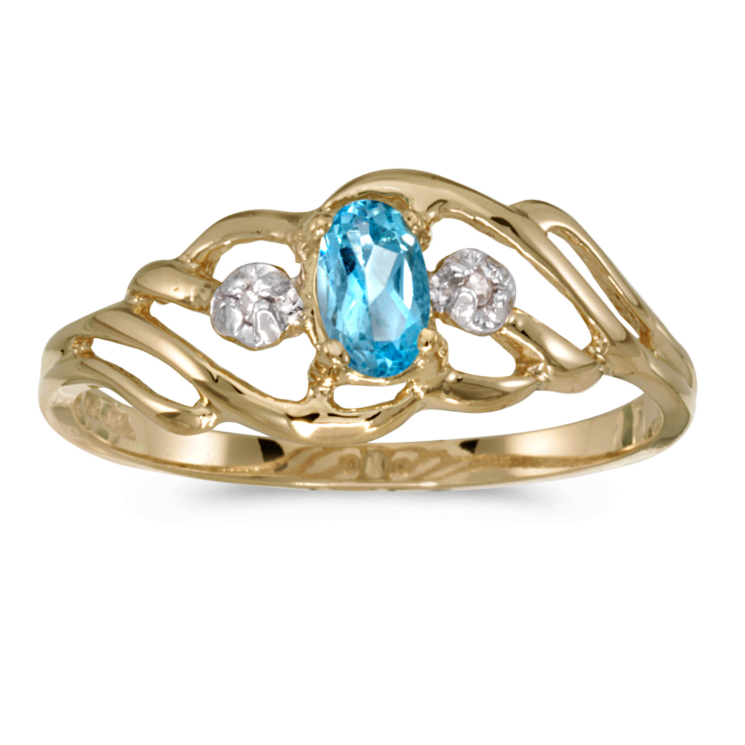 10k Yellow Gold Oval Blue Topaz And Diamond Ring by