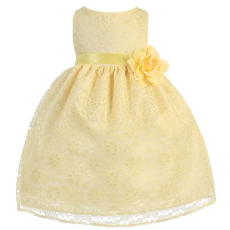 Baby Girls Yellow Floral Lace Flower Girl Dress 24M