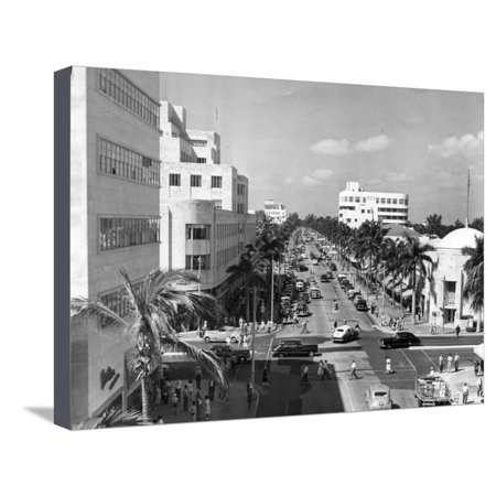 Lincoln Road Looking West from Washington Avenue, Miami Beach, 1948 Stretched Canvas Print Wall (Lincoln Road Stores Miami Beach)