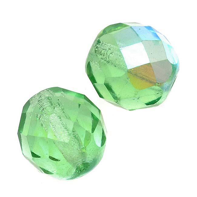 Czech Fire Polished Glass Beads 10mm Round Peridot AB (12)