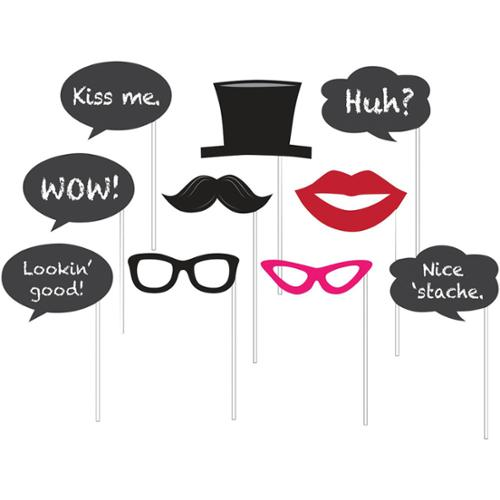 Chalkboard Photo Booth Props (10 Pack) - Party Supplies