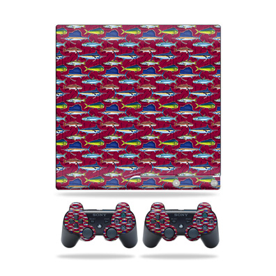 Skin Wrap for Sony Playstation 3 PS3 Slim + 2 controllers Saltwater Collage