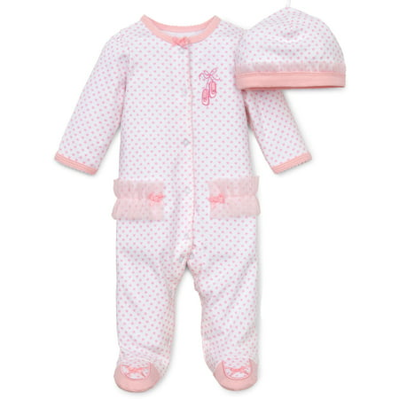 f5d667e2ba Baby Girls Newborn Ballerina Snap Front Footie Pajamas with Hat and Ballet  Slipper Feet Sleep N Play One Piece Romper Coverall Cotton Infant Footed  Sleeper  ...