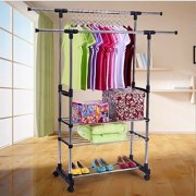 Top Knobs Adjustable Garment Rack with 2 Tier Metal Shelf for Shoes Boxes, Rolling Clothes Organizer, High Capacity, Stainless Steel, Heavy Duty