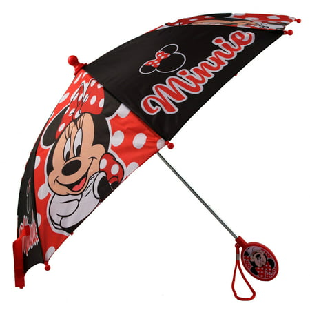 Disney Little Girls Minnie Mouse Polka Dot Character Rainwear Umbrella, Age 3-7