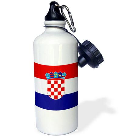 Croatia Coat Of Arms (3dRose Flag of Croatia - Croat red white blue stripes - Croatian coat of arms shield - Europe country world, Sports Water Bottle, 21oz )