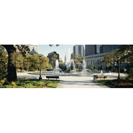 Fountain in a park Swann Memorial Fountain Logan Circle Philadelphia Philadelphia County Pennsylvania USA Canvas Art - Panoramic Images (18 x 6) (Logan Circle)