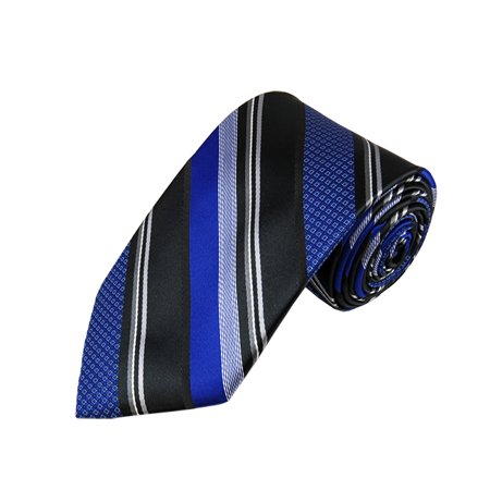 Royal Blue And Black Multi-Patterned Stripe X-Long Woven Necktie](Royal Blue And Black)