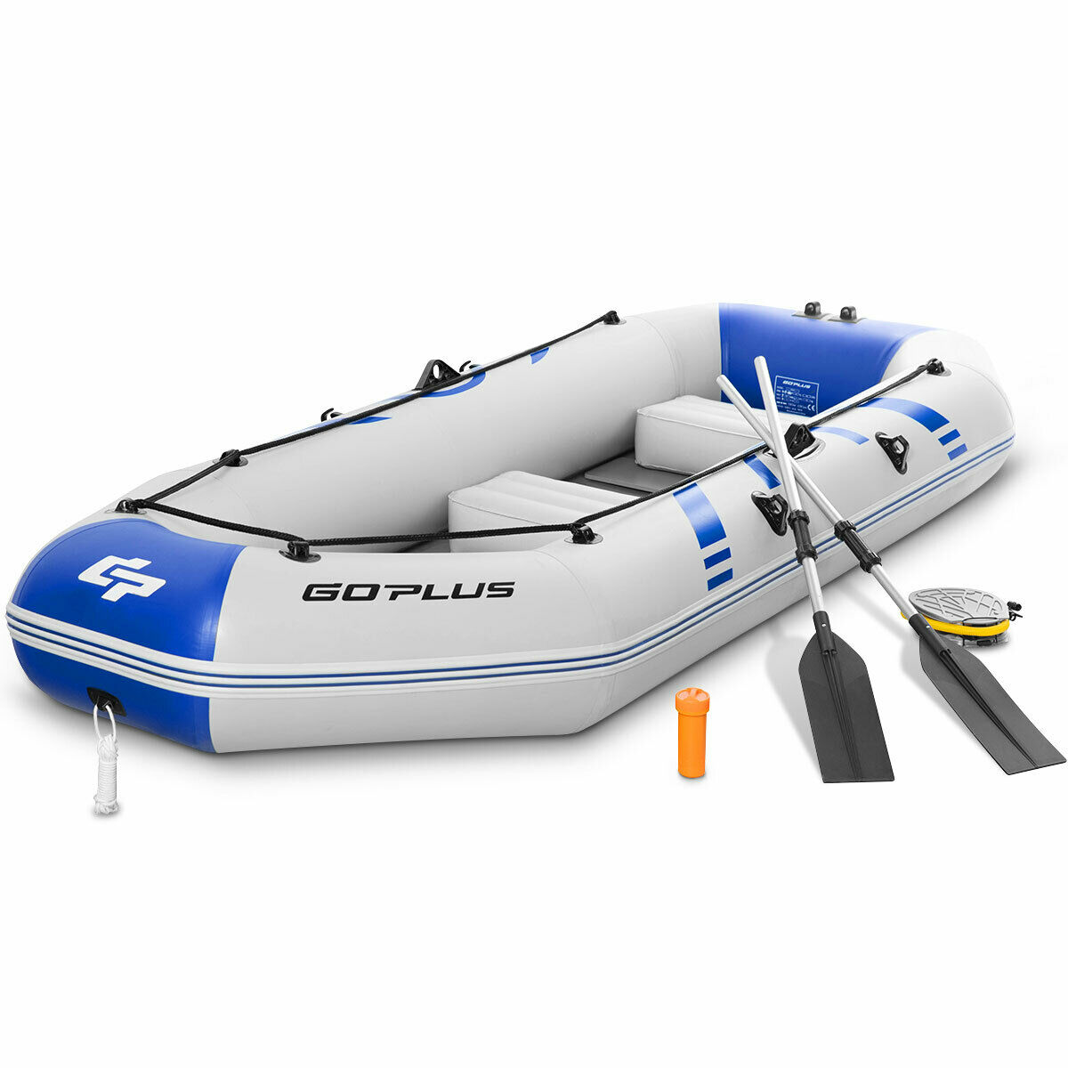 Goplus 3-4 Persons Inflatable Fishing Boat w/ Oars and Air Pump Water Sports