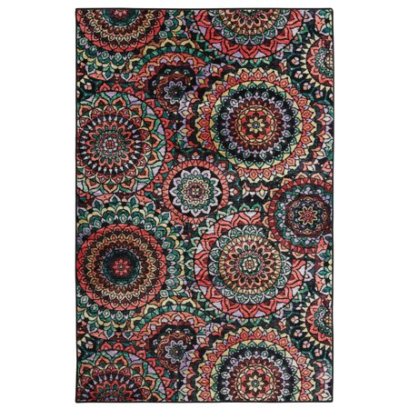 Mohawk Prismatic Area Rugs - Z0022 A514 Contemporary Evergreen / Charcoal Loops Petals Rings Hoops