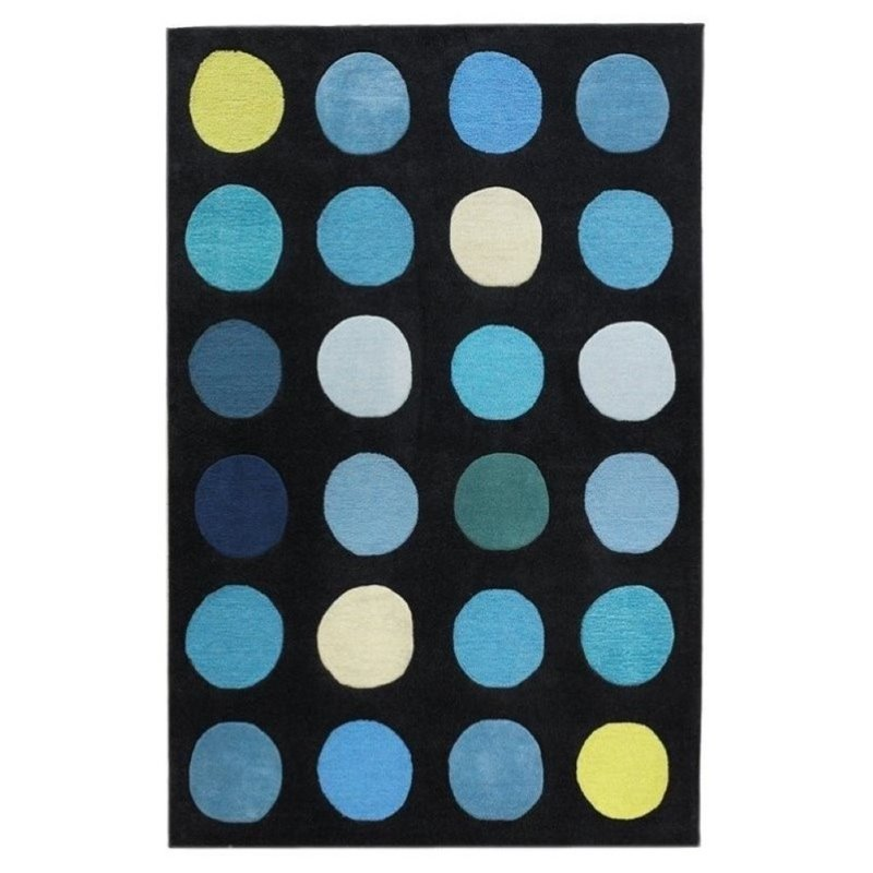 Hawthorne Collection 5' x 7' Hand Tufted Rug in Black and Blue