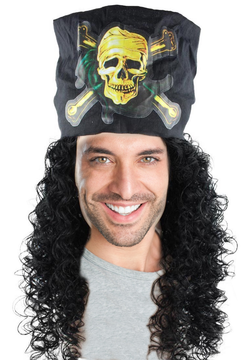 ADULT MALE MENS BLACK LONG CURLY PIRATE CAPTAIN HOOK COSTUME WIG W// MOUSTACHE