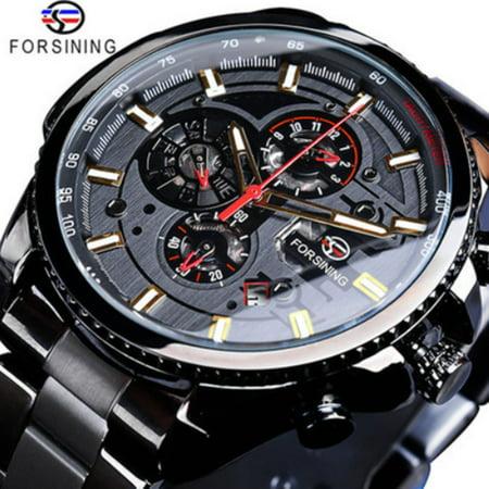 FORSINING Men Three Dials Stainless Steel Band Calendar Analog Watch Waterproof Automatic Mechanical Wrist Watch