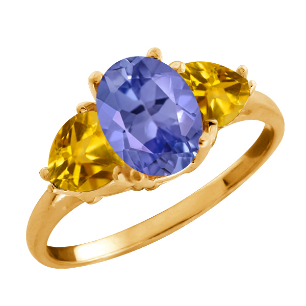 1.98 Ct Oval Blue Tanzanite and Citrine Gold Plated Sterling Silver Ring
