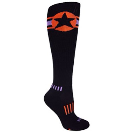 MOXY Socks Black with Orange and Purple American Star Knee-High Deadlift