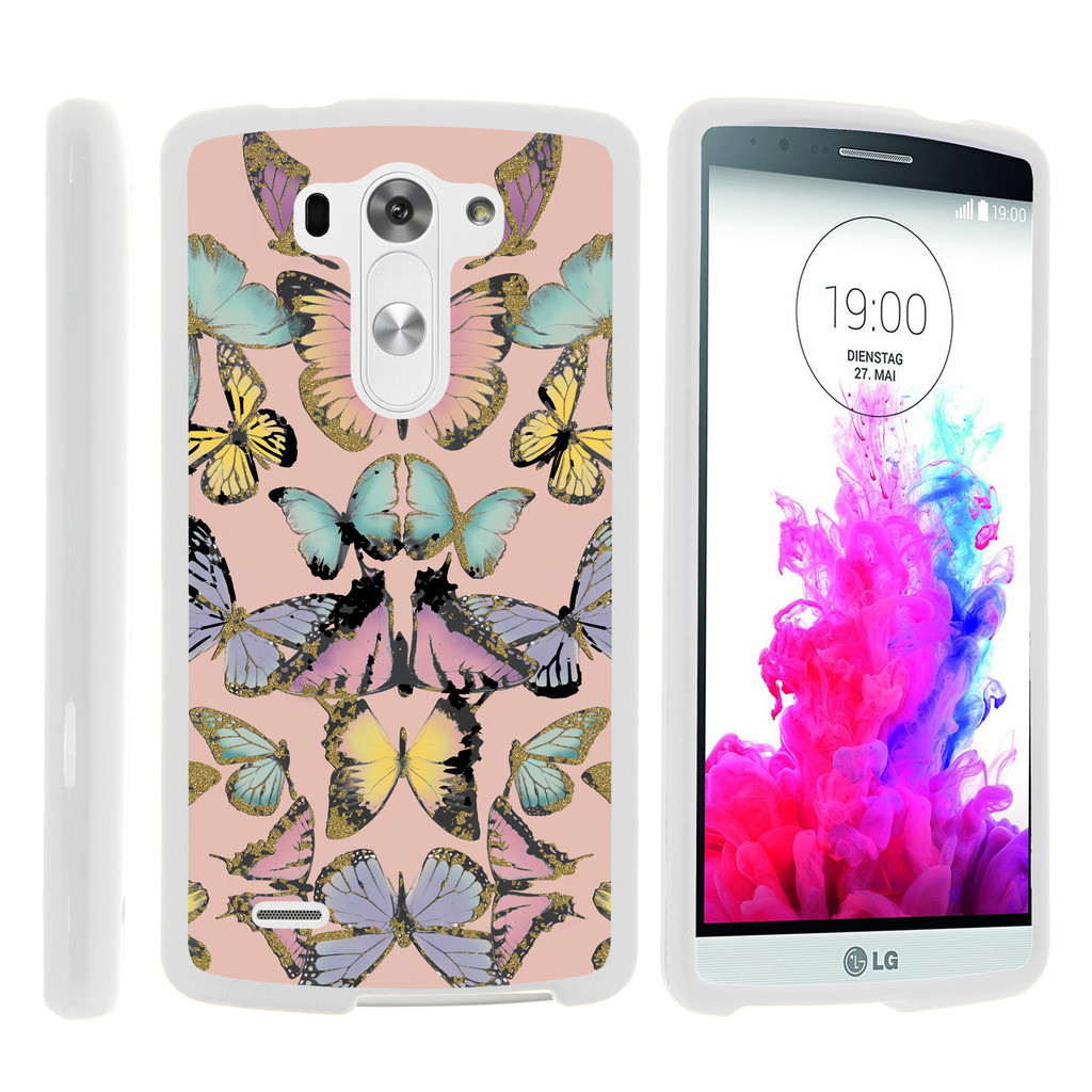 LG G3 D850, LS990, VS985, [SNAP SHELL][White] Hard White Plastic Case with Non Slip Matte Coating with Custom Designs - Butterfly Symmetry