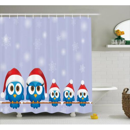 Christmas Shower Curtain Set Funny Bird Family With Santa Hats On Electricity Wire Winter Holiday