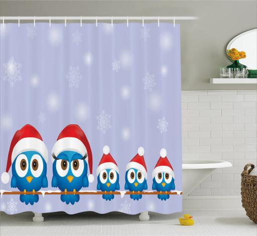 Christmas Shower Curtain Set, Funny Bird Family With Santa Hats On  Electricity Wire Winter Holiday