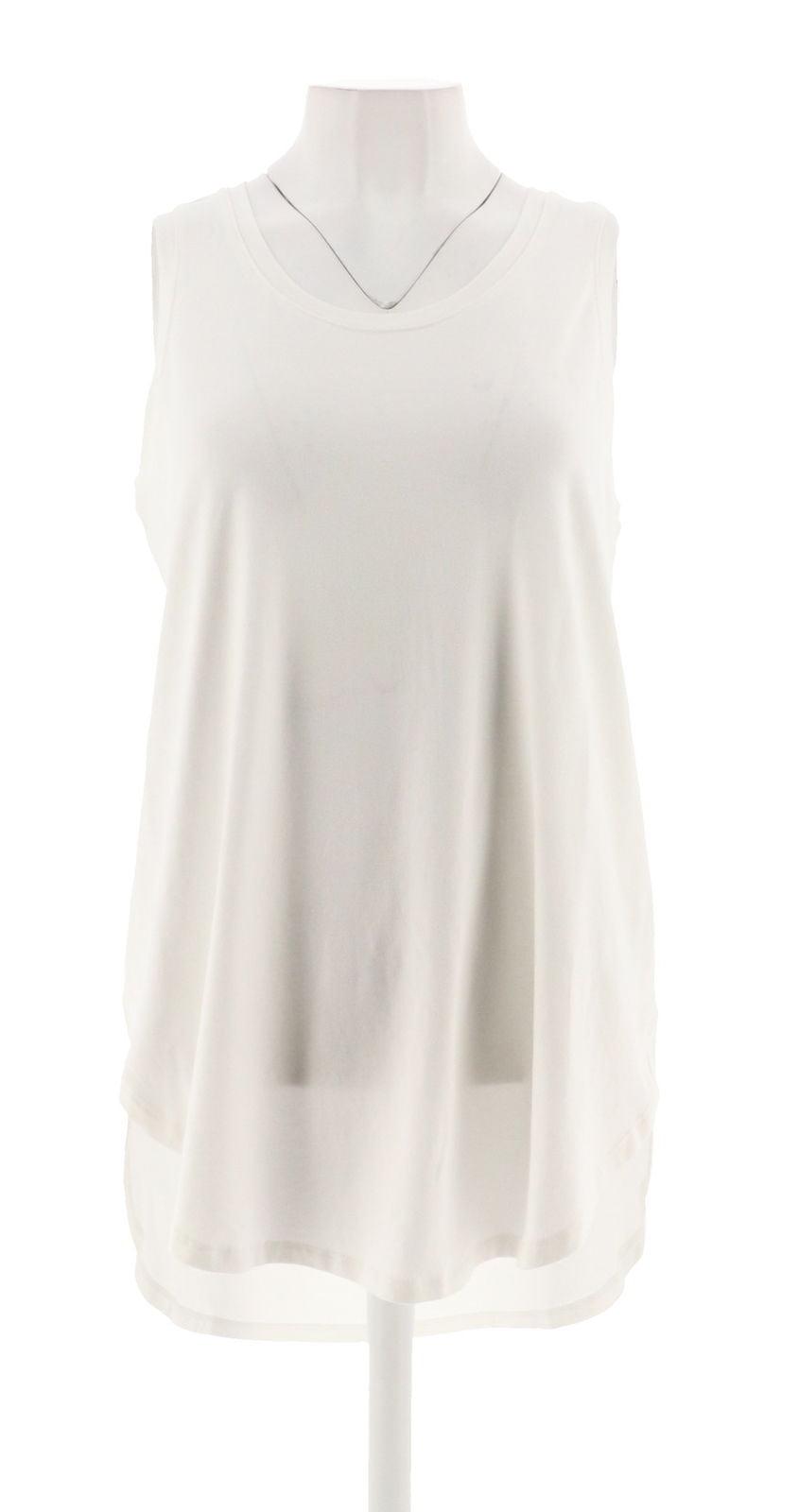 AnyBody Loungewear Cozy Knit Side Split Tank Top White XS NEW A306950