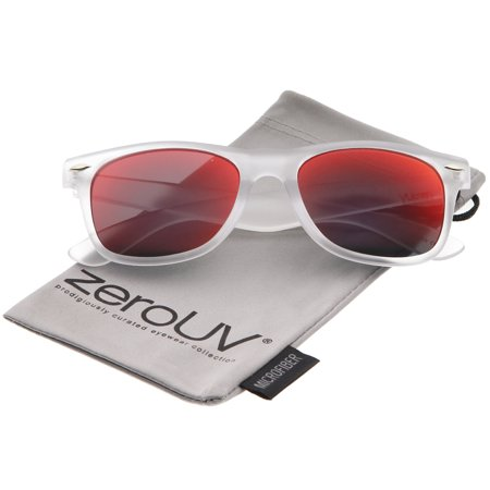 zerouv - matte frosted frame reflective colored mirror lens horn rimmed sunglasses 54mm - 54mm zerouv - matte frosted frame reflective colored mirror lens horn rimmed sunglasses 54mm (frost / red mirror)