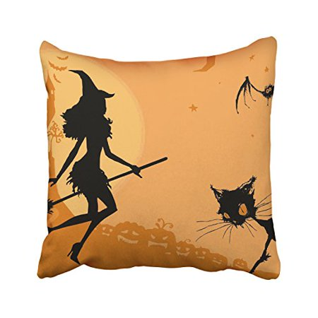 WinHome Happy Halloween The Witch Broom The Gothic Cat Bat Orange Castle Moon Decorative Pillowcases With Hidden Zipper Decor Cushion Covers Two Sides 20x20 inches](Gothic Halloween Cover Photos)