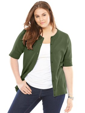 b0f5cbc53e6 Product Image Plus Size Elbow-length Sleeve Perfect Cardigan