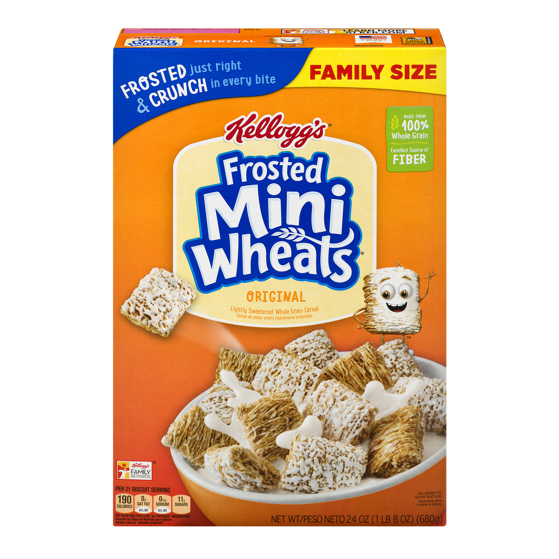 Kellogg's Frosted Mini-Wheats Bite Size Breakfast Cereal, 24 Oz