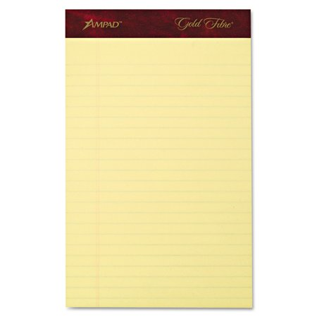 Ampad Legal Pad - Gold Fibre Writing Pads, Jr. Legal Rule, 5 x 8, Canary, 50 Sheets, 4/Pack