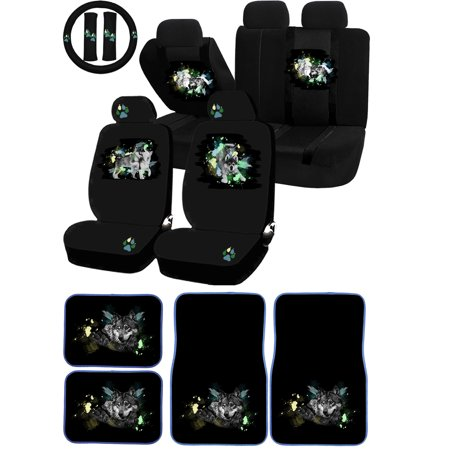 22PC Mom Pup Wolf Pack Seat Covers Protector Carpet Floor Mats Set Car