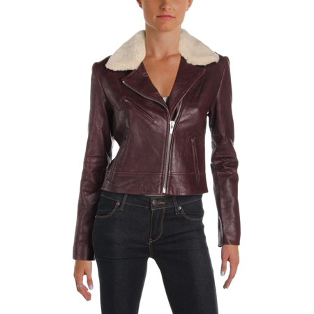Shearling Leather Coat - Veda Womens Nova Leather Shearling Motorcycle Jacket